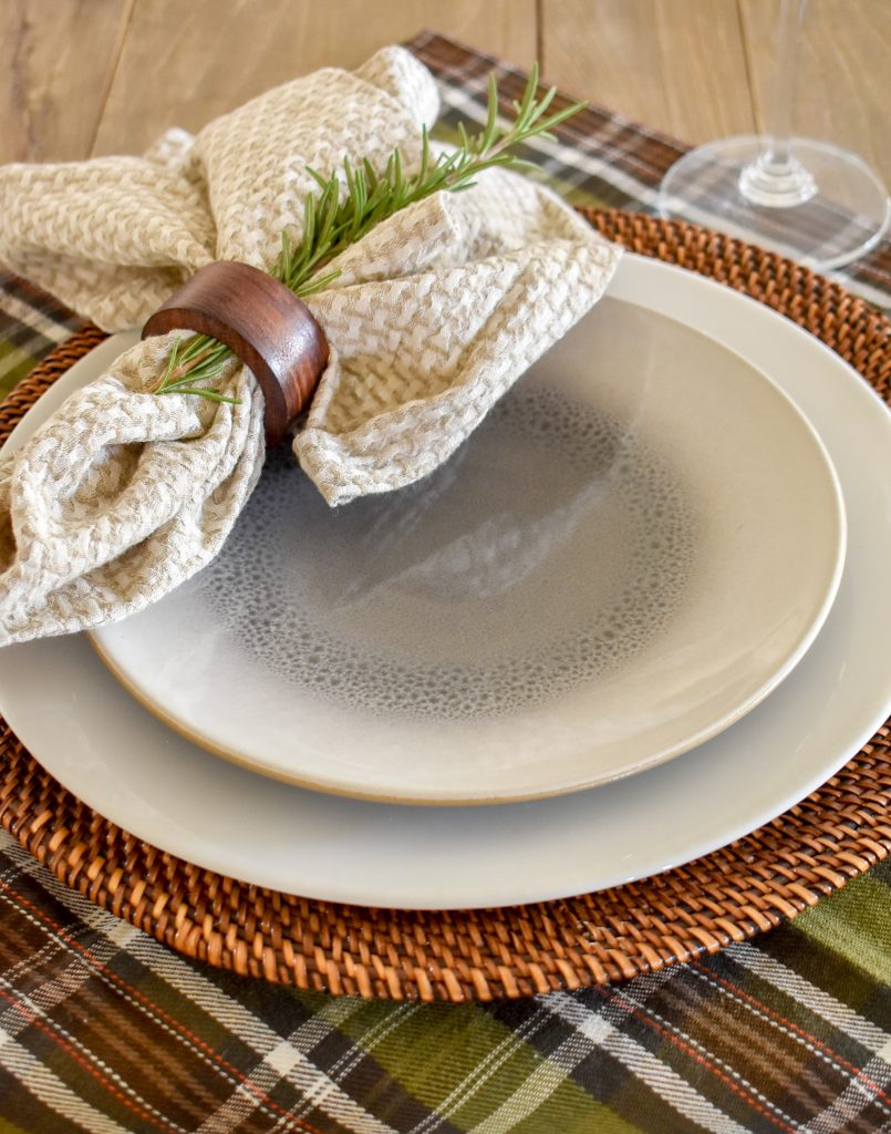 Place Settings on a Casual Evergreen Thanksgiving Table Setting