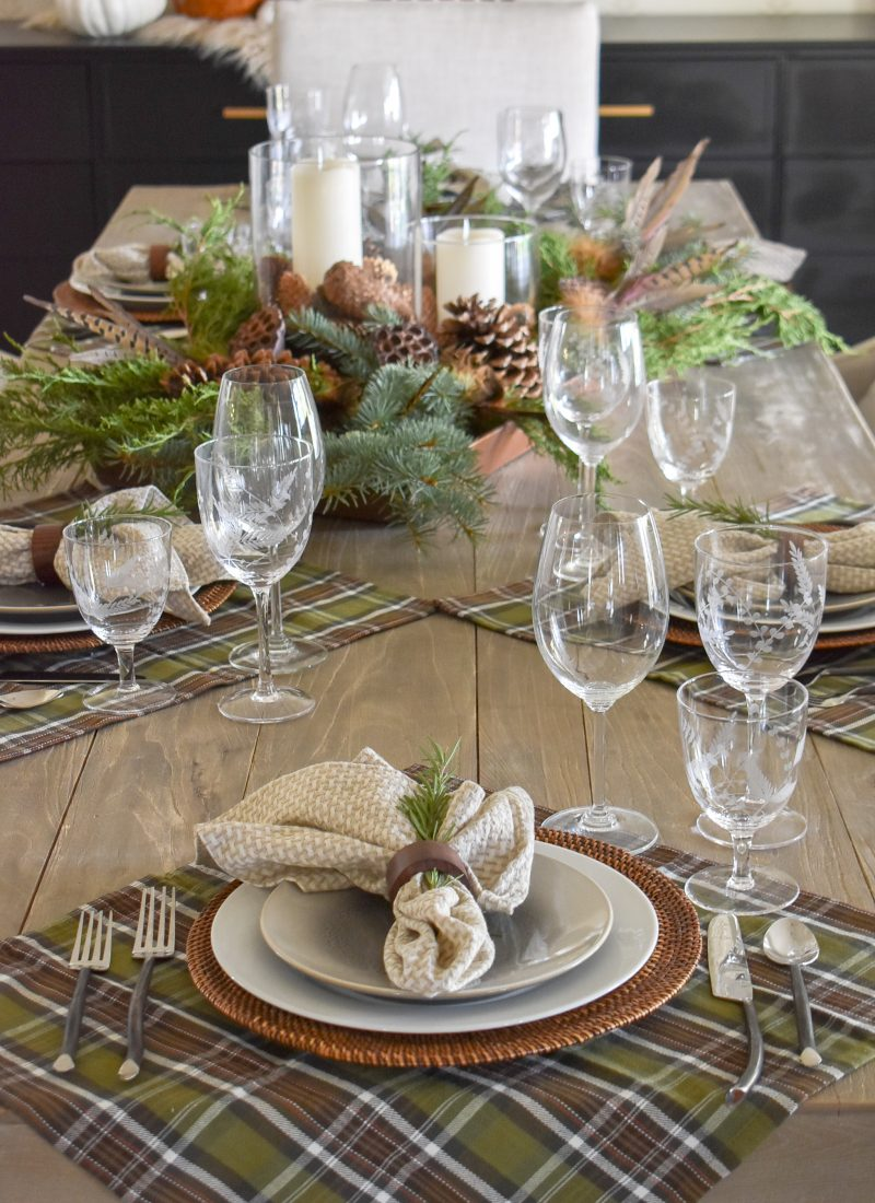Casual Evergreen Thanksgiving Table Setting