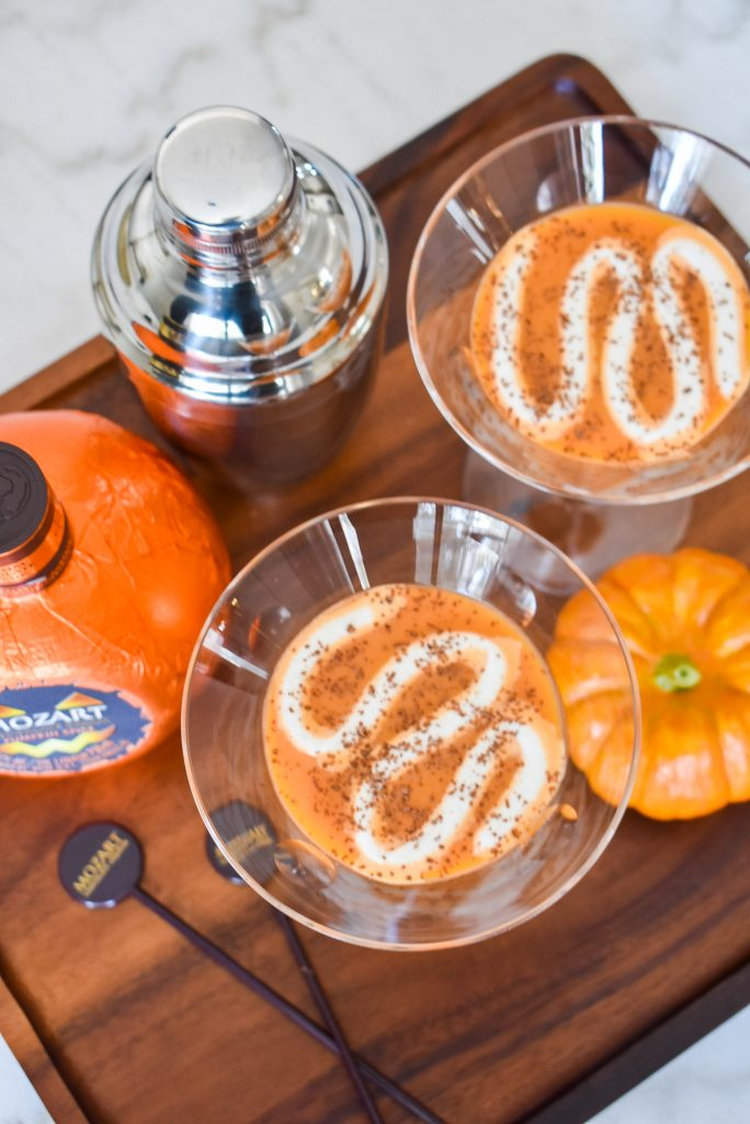 A Creamy Chocolate Pumpkin Spice Martini on a tray