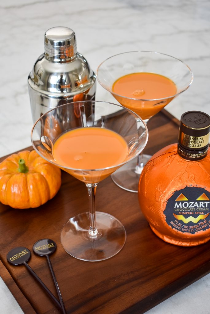 Two Creamy Chocolate Pumpkin Spice Martinis on a tray