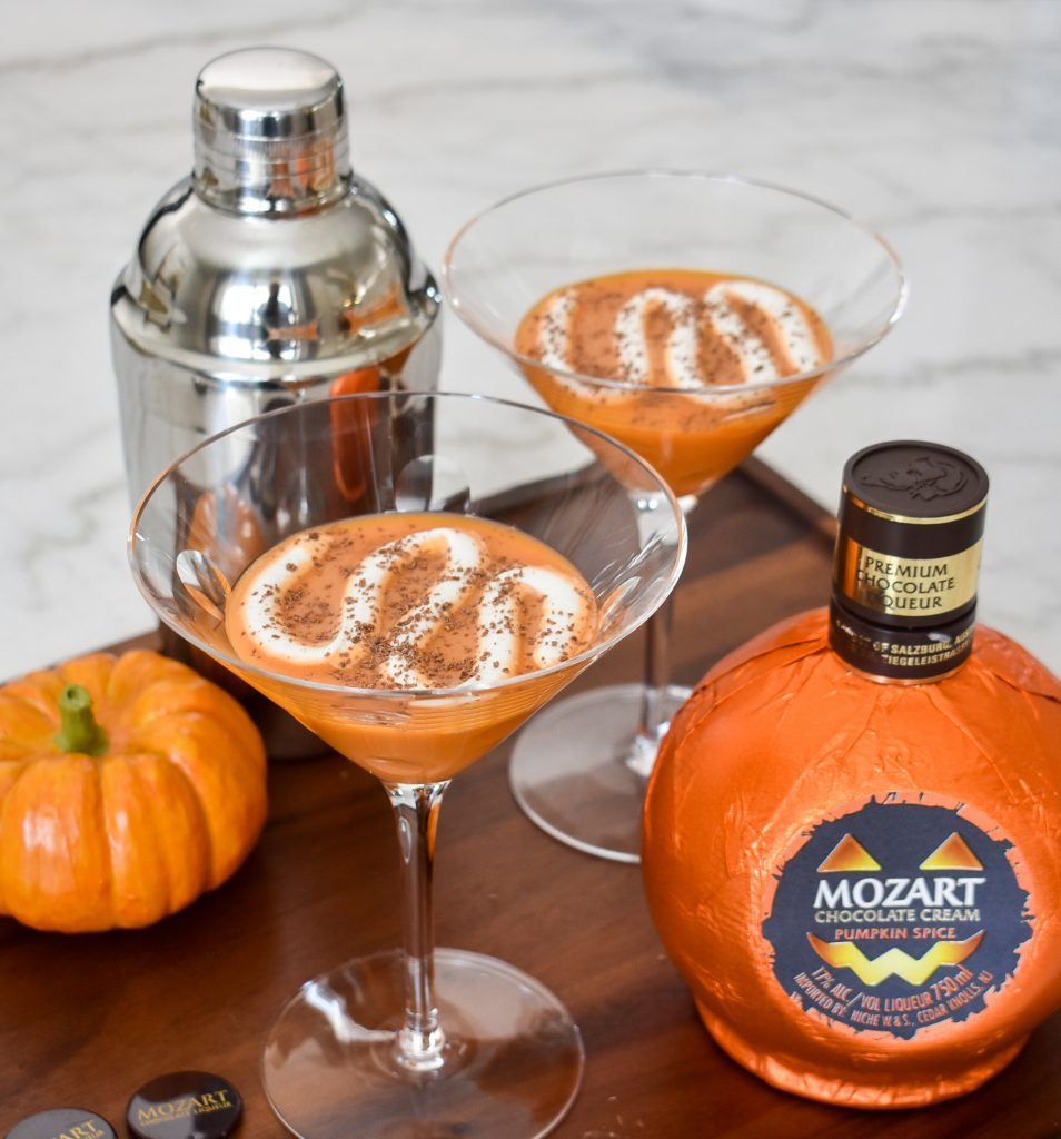 A Creamy Chocolate Pumpkin Spice Martini with Mozart Liqueur