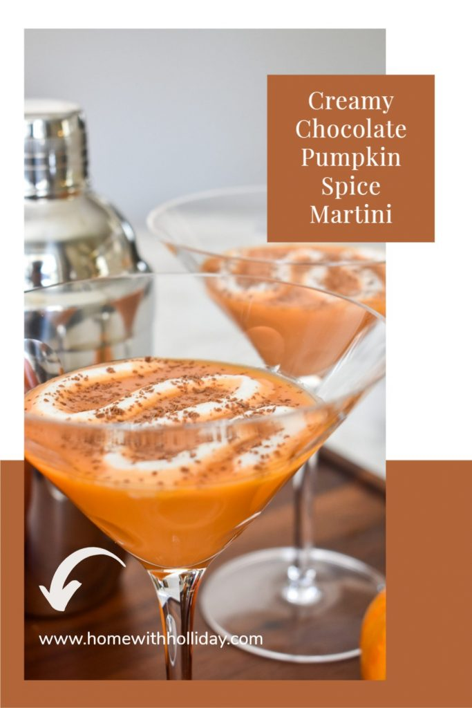 A Creamy Chocolate Pumpkin Spice Martini with whipped cream on a tray