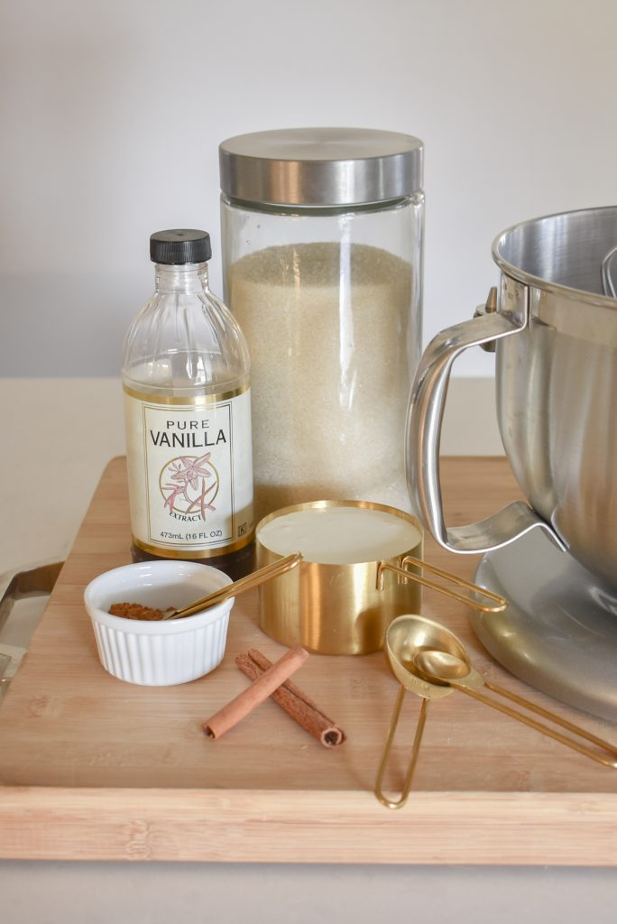 Ingredients for a Homemade Pumpkin Spice Whipped Cream Recipe