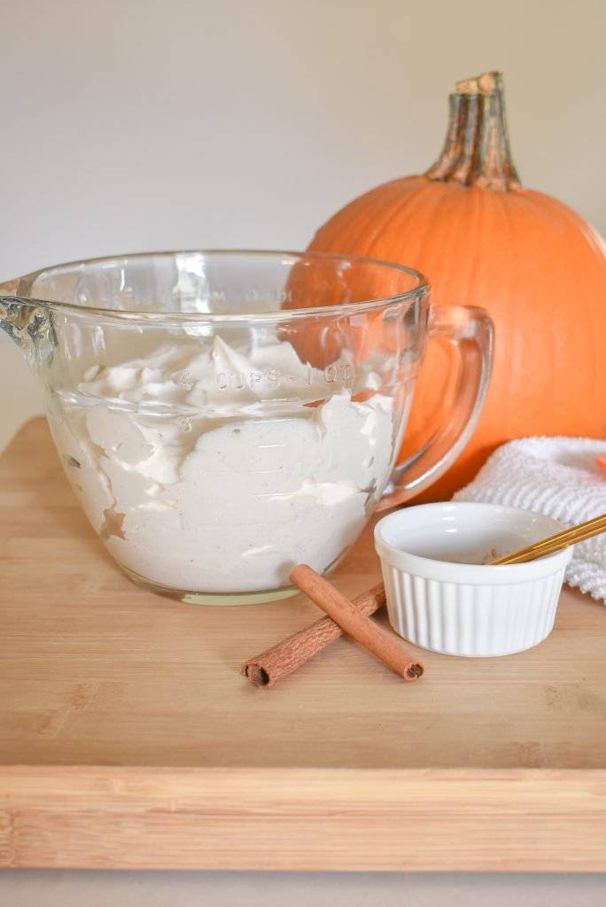 Homemade Pumpkin Spice Whipped Cream on a tray