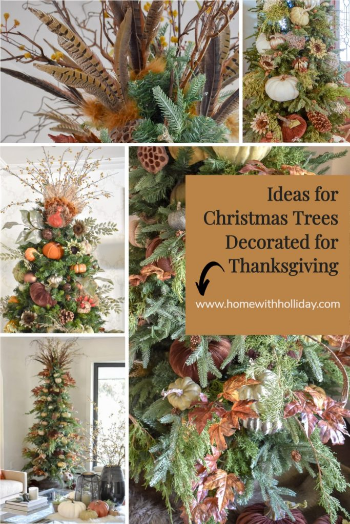 Multiple Ideas for Christmas Trees decorated for Thanksgiving