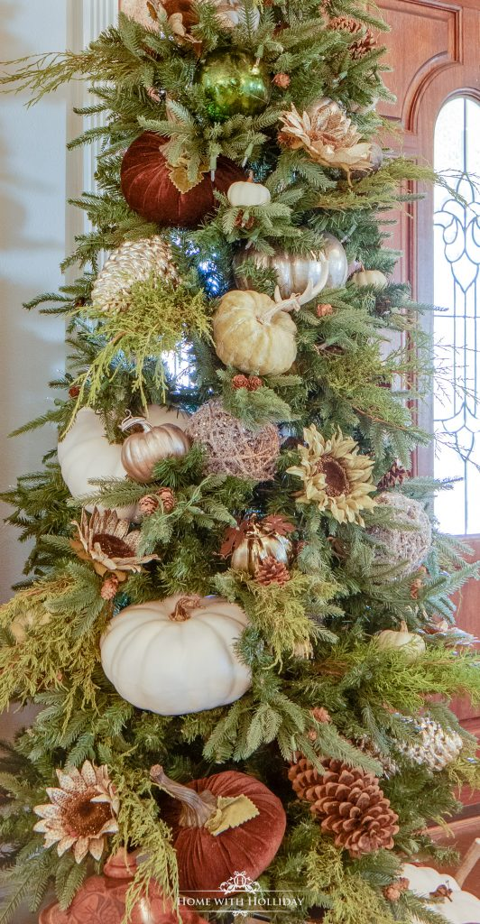 Fall decorations used on a Christmas Tree decorated for Fall or Thanksgiving