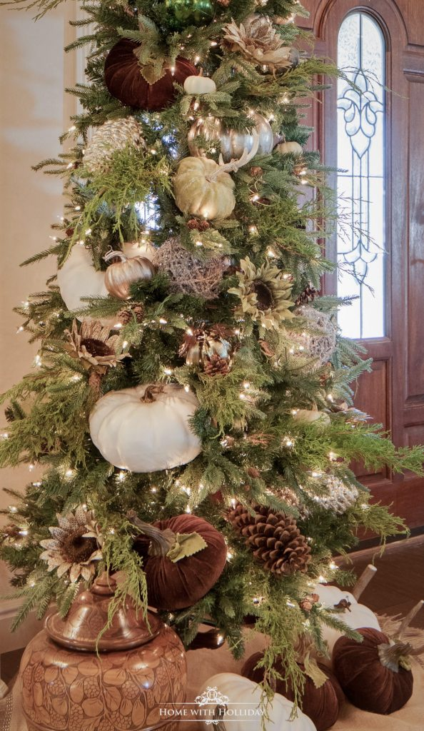 A Christmas Tree decorated for Thanksgiving or Fall