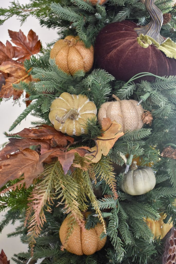 Close-up of Thanksgiving-themed Christmas Tree for Fall