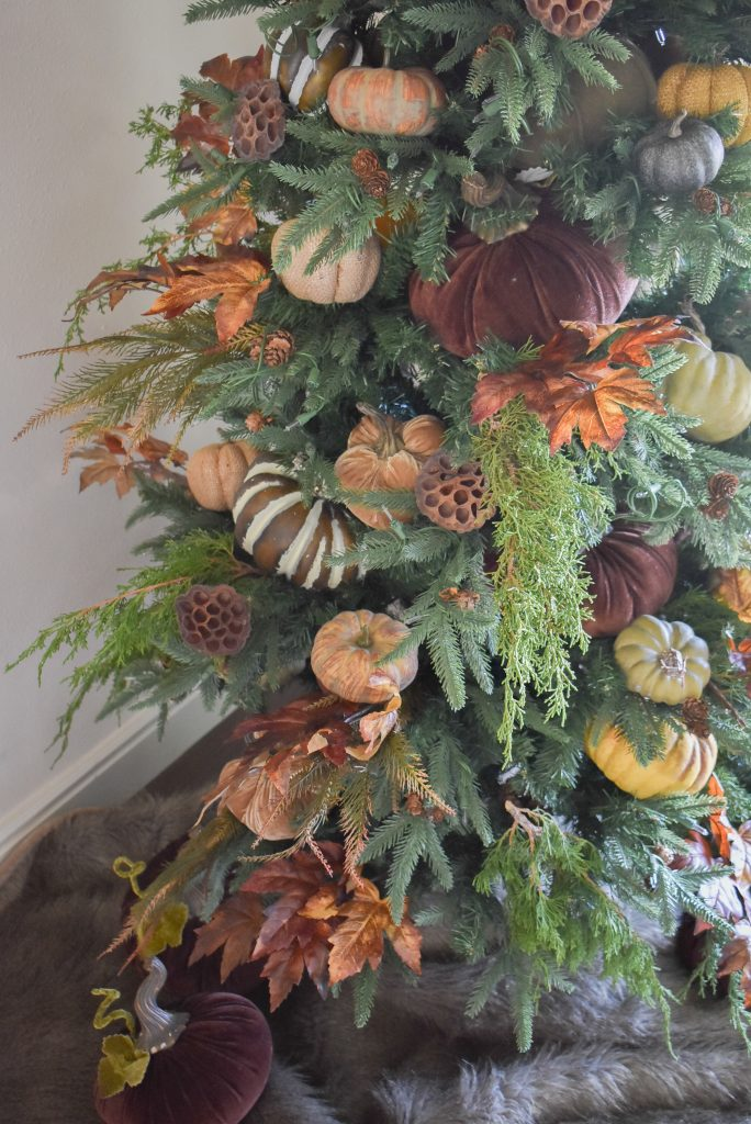 A close-up of Christmas Tree decorated for Thanksgiving or Fall