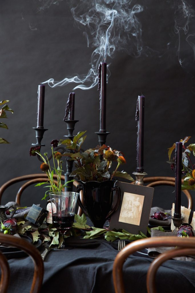 Black Halloween Moody Fall Tablescape with black candles