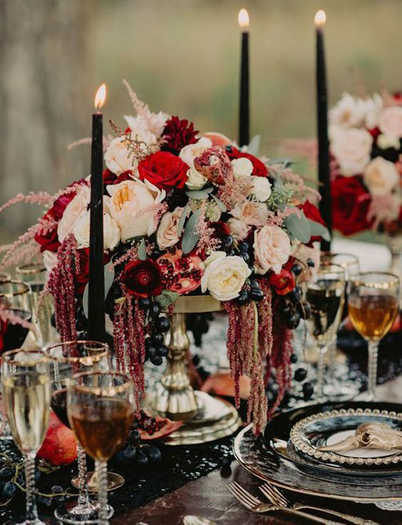 Flower arrangement on a Moody Wedding Tablescape