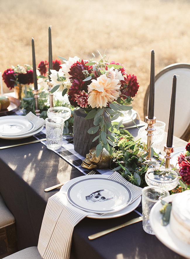 Black and White Moody Fall Tablescape in a field