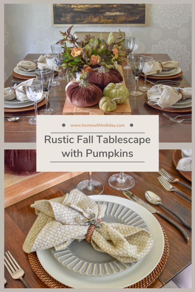 Collage of a Rustic Fall Tablescape with Pumpkins
