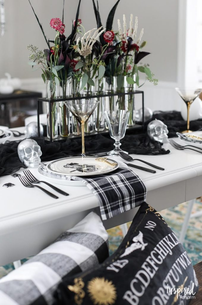 Black, white, and gold Halloween Moody Fall Tablescape