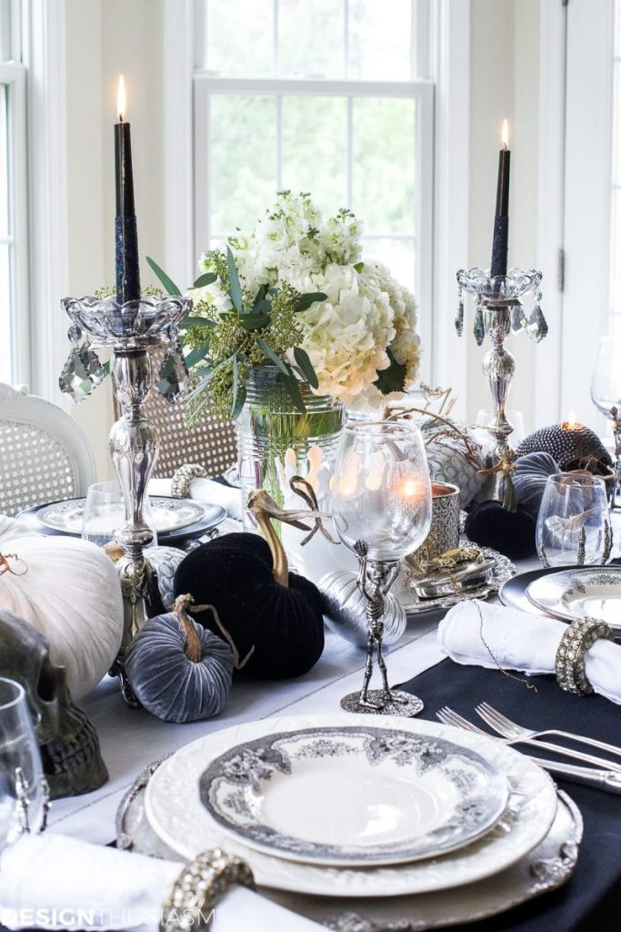 Black and White Elegant but Moody Tablescape