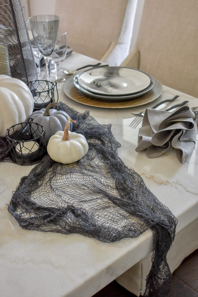 Grey, Black and White Moody Fall Tablescape on Marble Table