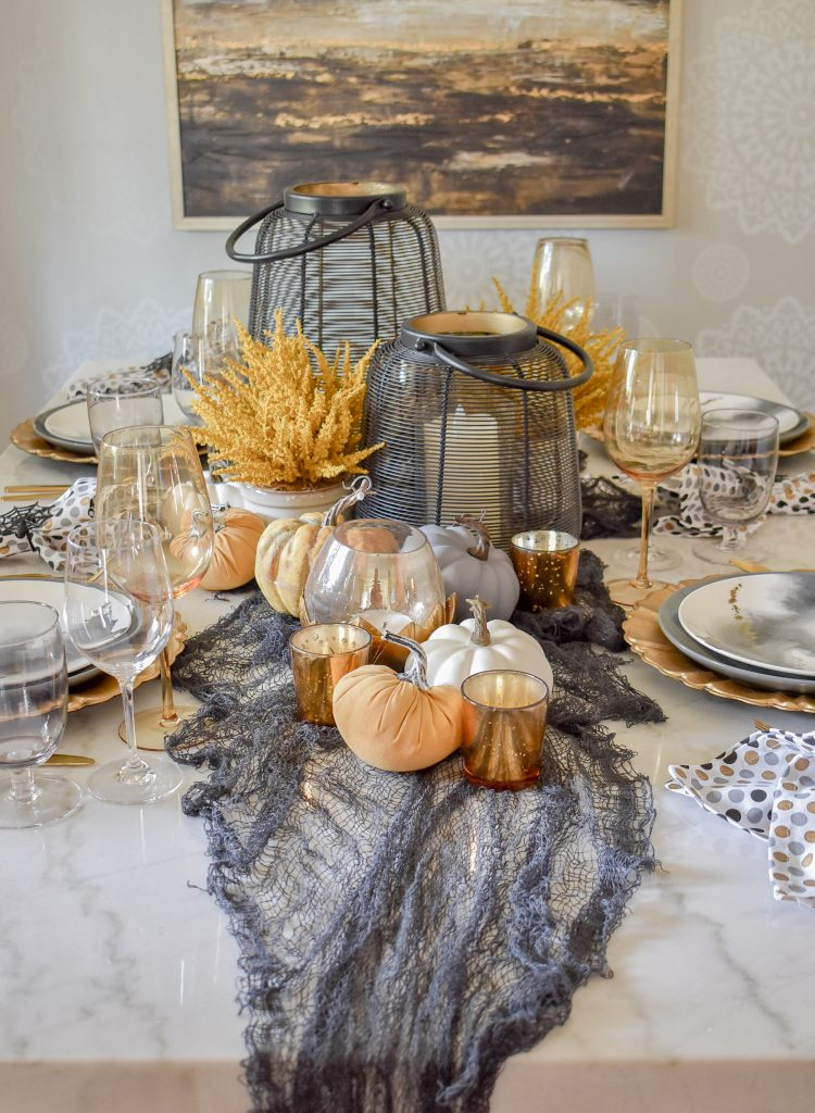 Grey, Harvest Gold, and White Moody Fall Tablescape on Marble Table