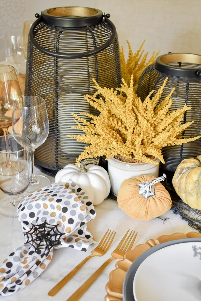 Black, Harvest Gold, and White Moody Fall Tablescape on Marble Table