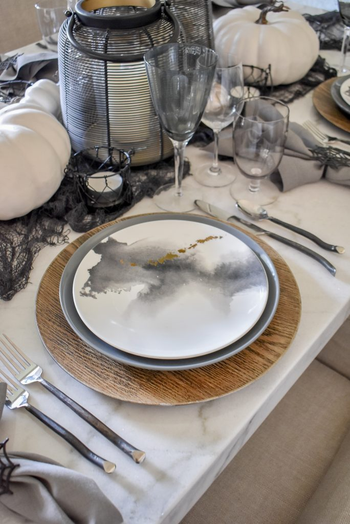 Grey, Black and White Moody Fall Tablescape place setting on Marble Table