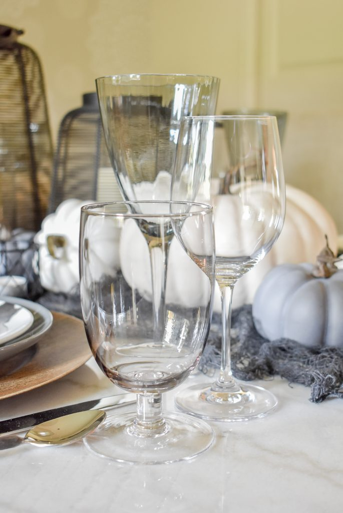Glassware on a Grey, Black and White Moody Fall Tablescape