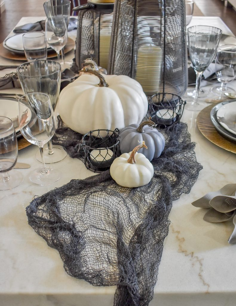 Grey, Black and White Moody Fall Tablescape Centerpiece on Marble Table