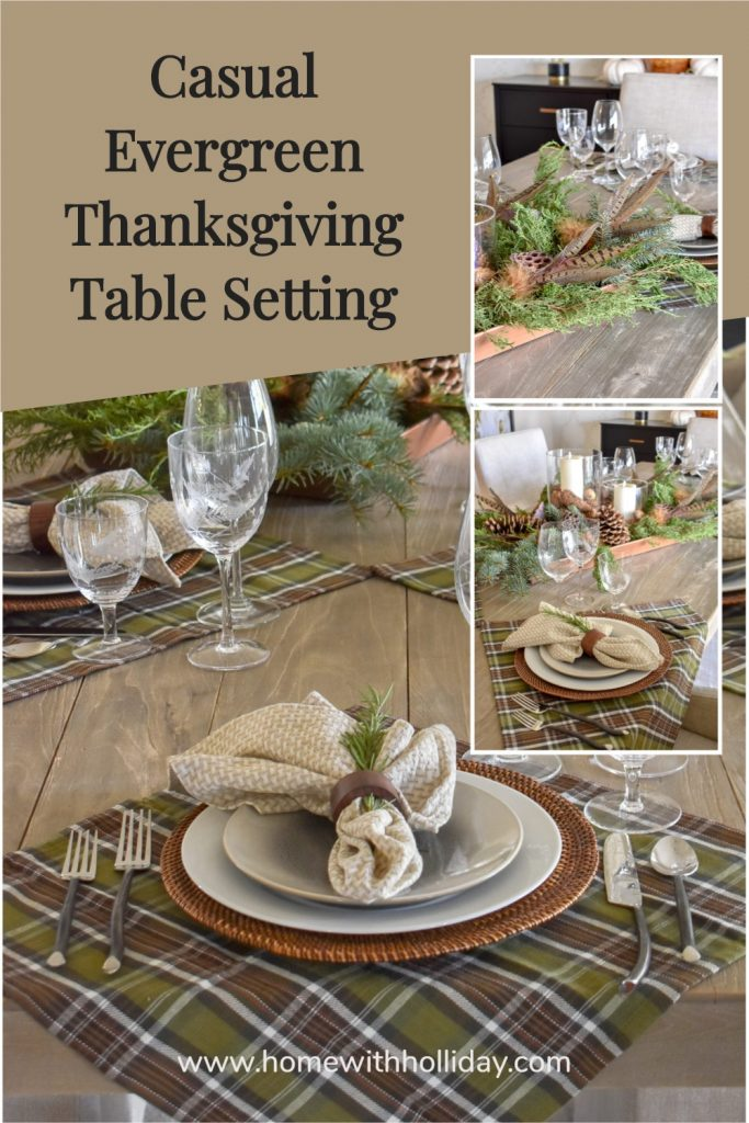 A collage of a Casual Evergreen Thanksgiving Table Setting with evergreens and plaid