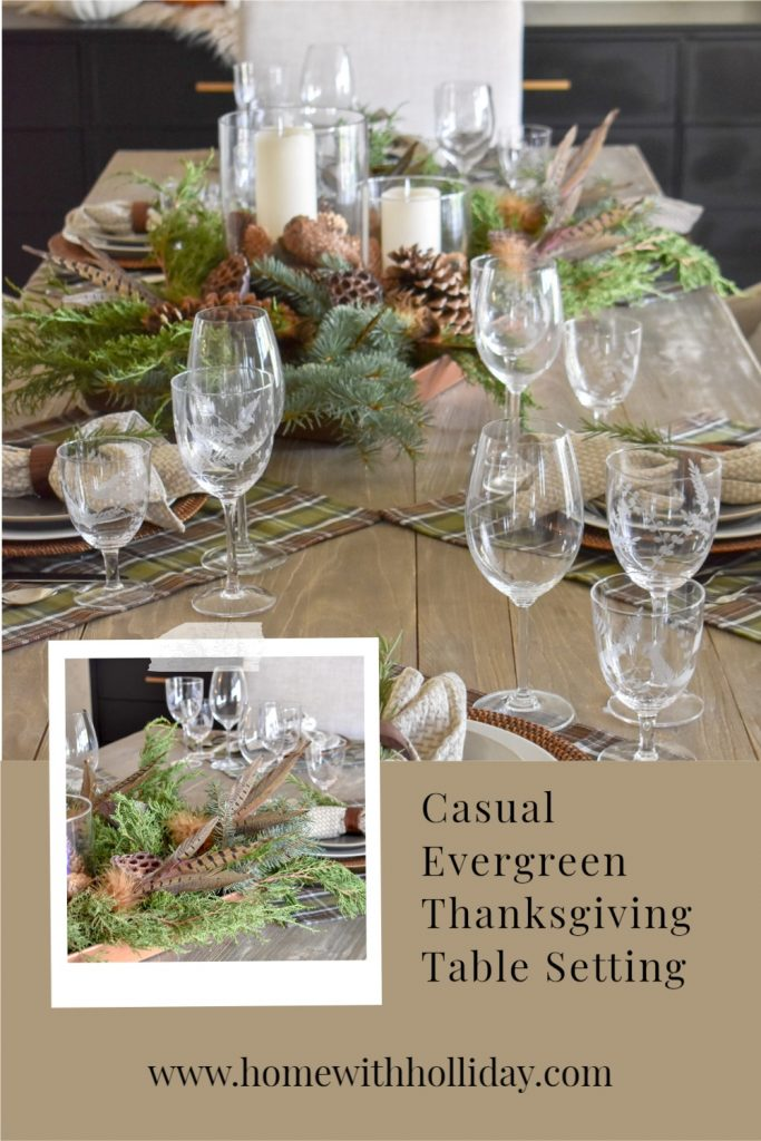 A collage of a Casual Evergreen Thanksgiving Table Setting with plaid and evergreens