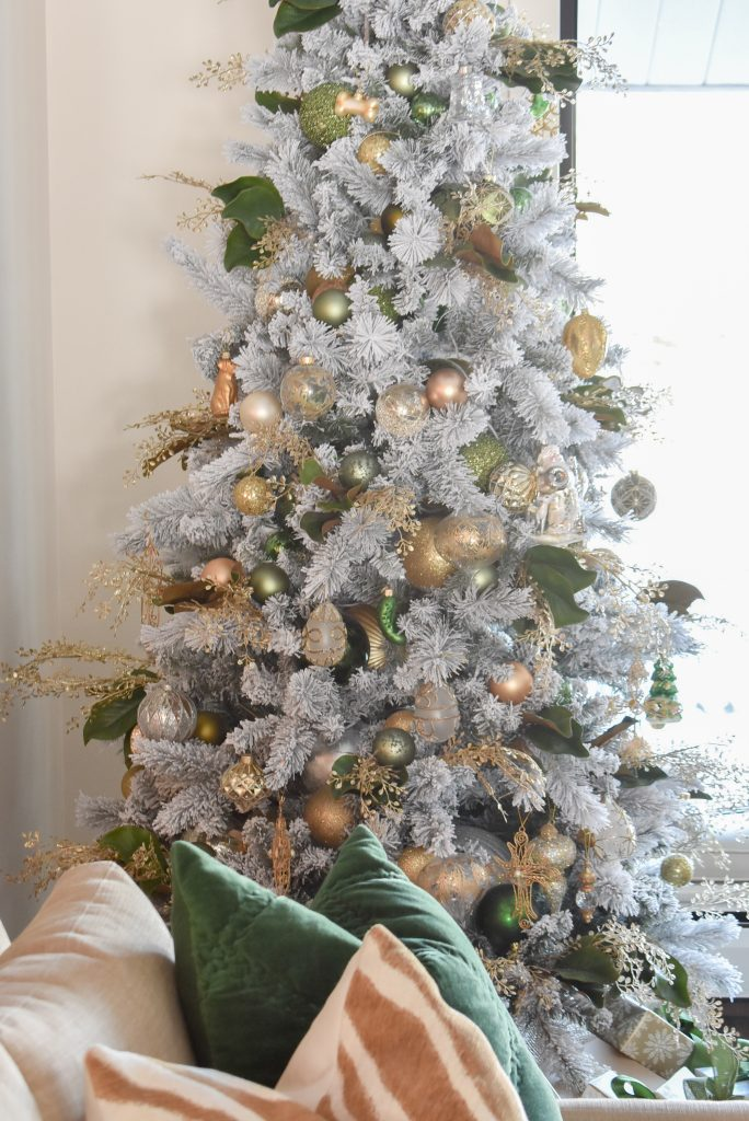 A Green and Gold Flocked Christmas Tree