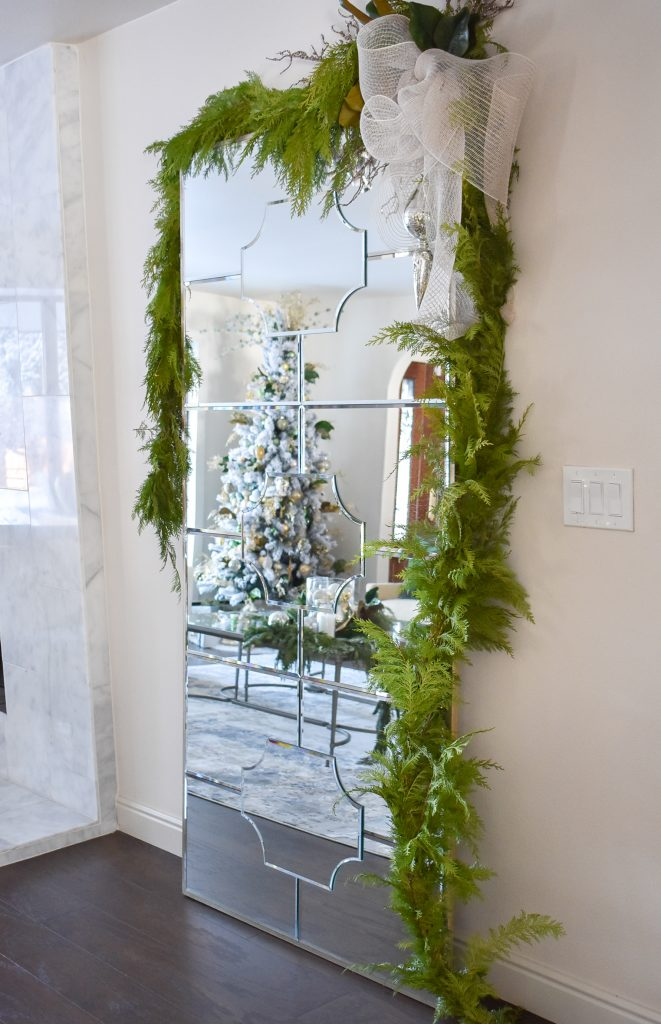 Decorations in a Green and Gold Fresh Evergreen Christmas Home Tour