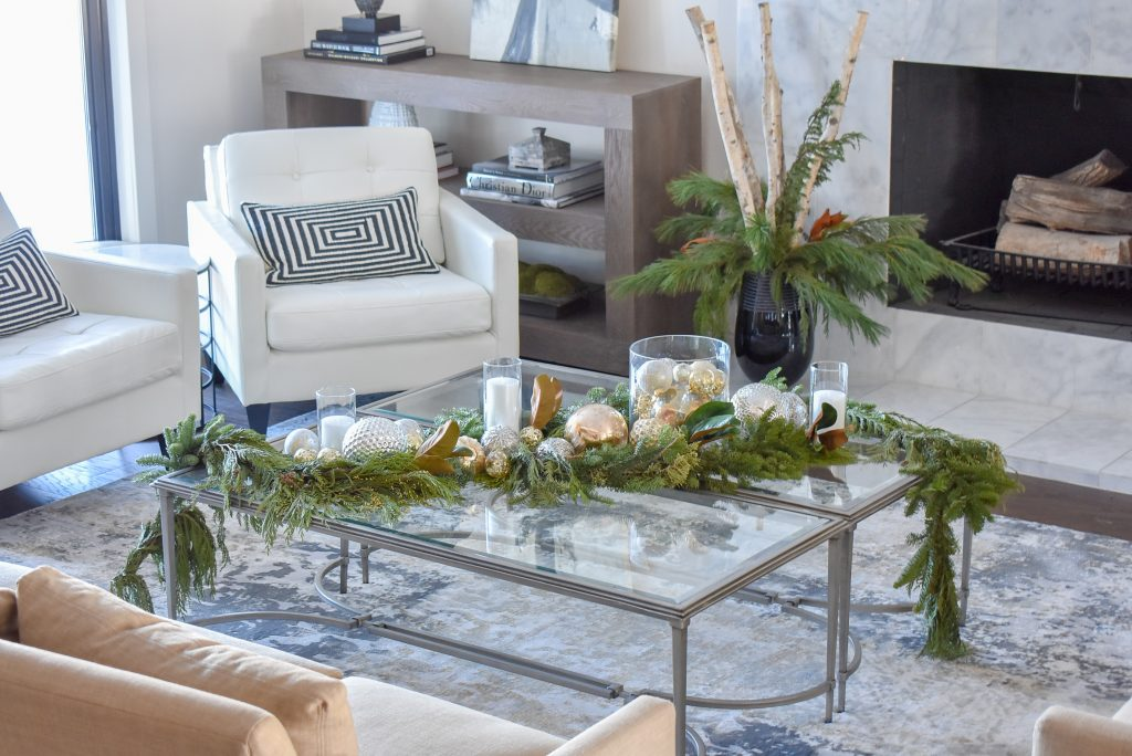 A living room in a Green and Gold Fresh Evergreen Christmas Home Tour