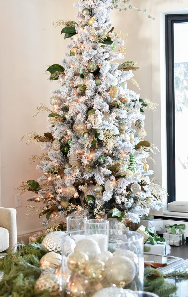 Christmas Tree in a Green and Gold Fresh Evergreen Christmas Home Tour