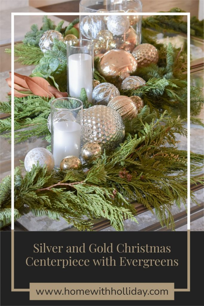 Silver and Gold Christmas Centerpiece with Evergreens