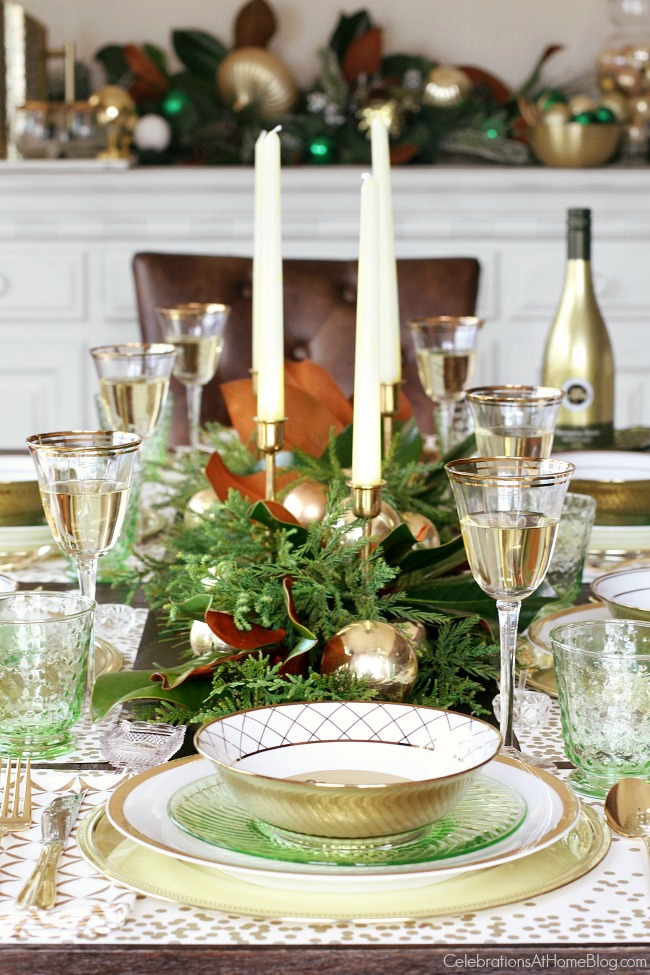 More Evergreen and Gold Christmas Table Settings