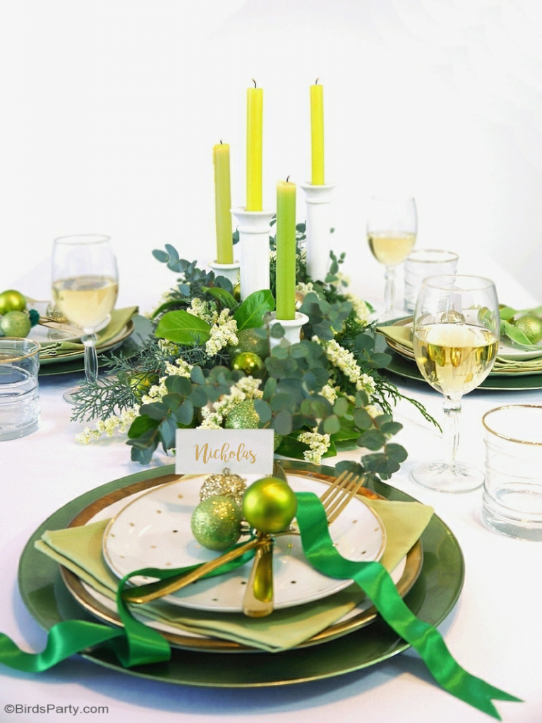 More Green and Gold Christmas Table Settings