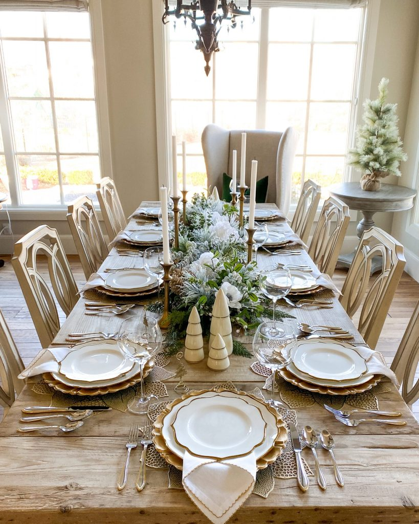 An Evergreen and Gold Christmas Table Setting