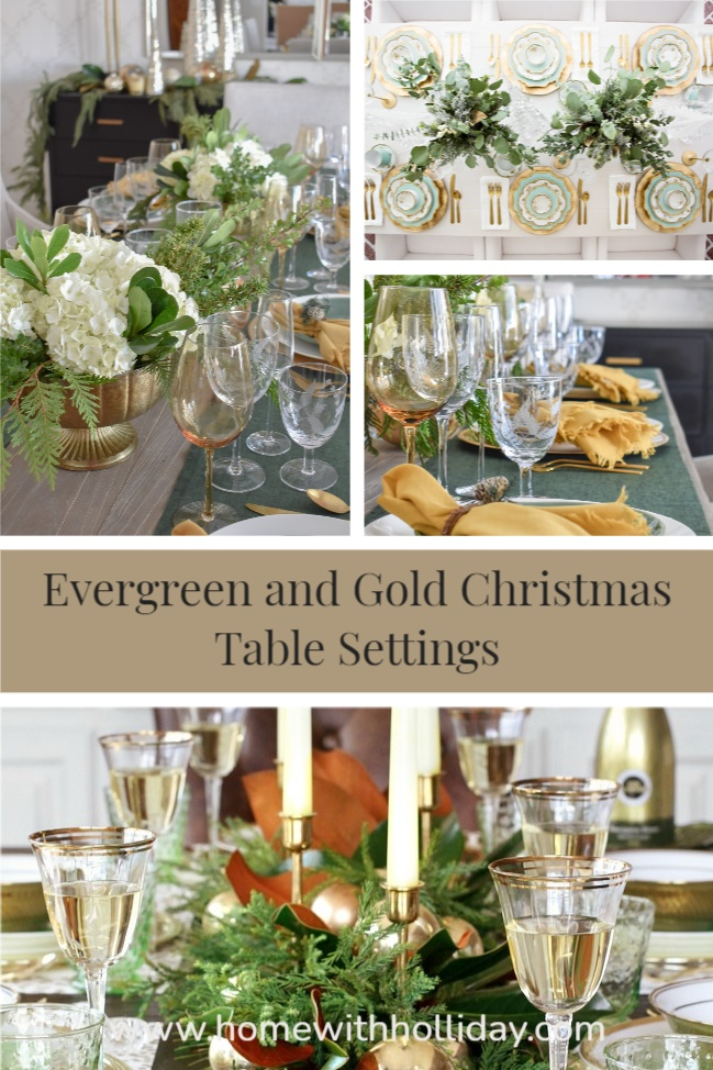 A collage of Evergreen and Gold Christmas Table Settings