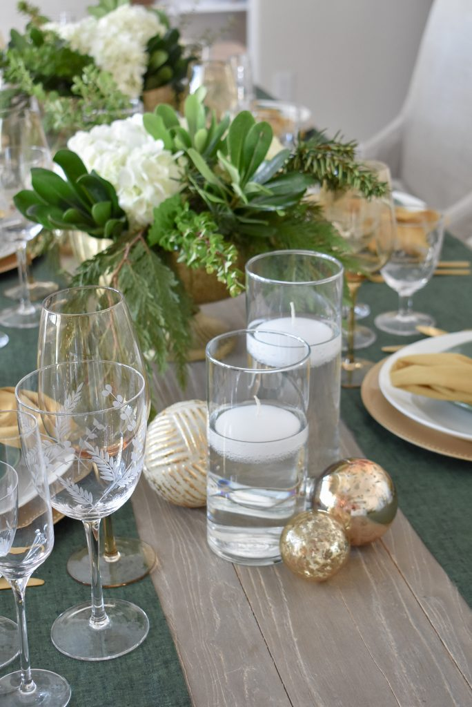 Evergreen and Gold Christmas Table Settings