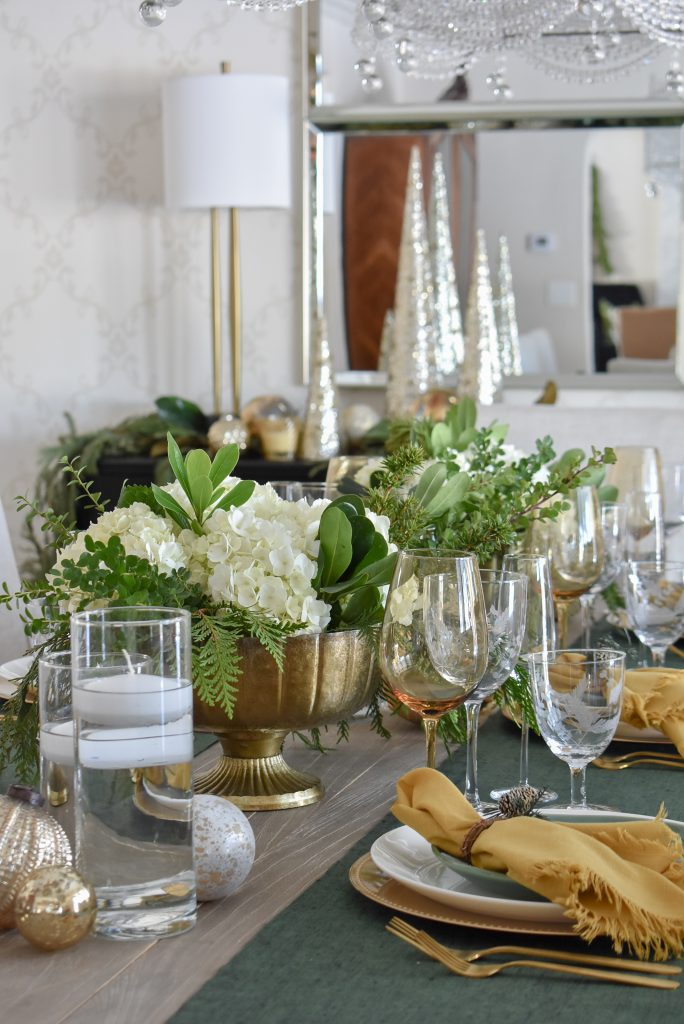 Evergreen and Gold Christmas Table Settings for the holidays