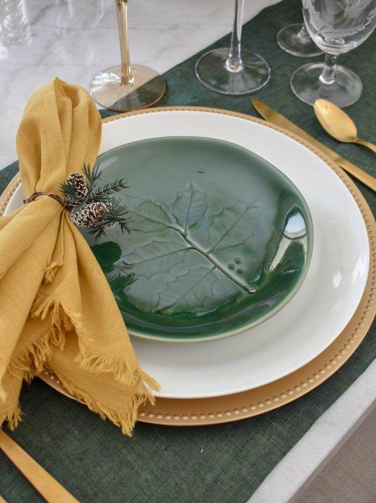 Place Settings for Evergreen and Gold Christmas Table Settings