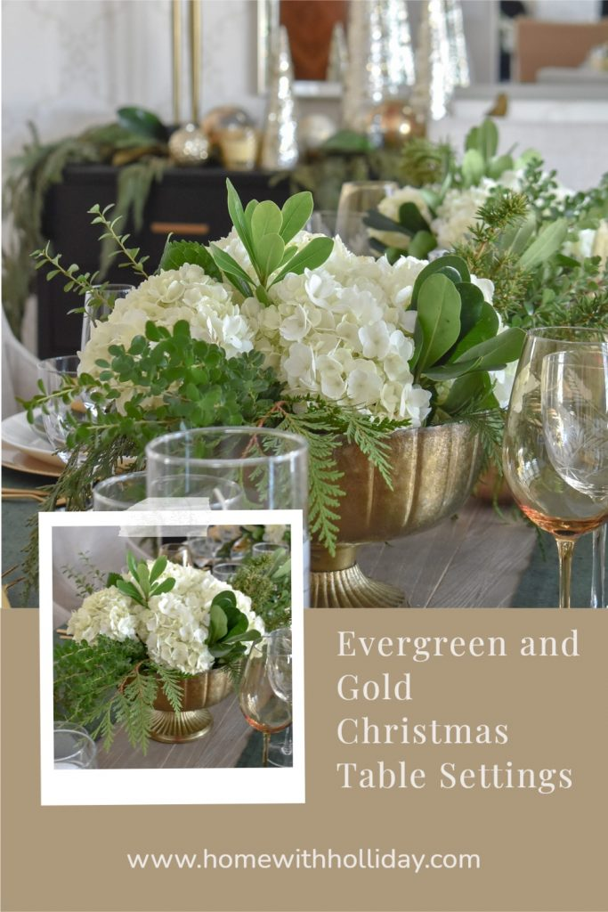 Collage of Evergreen and Gold Christmas Table Settings