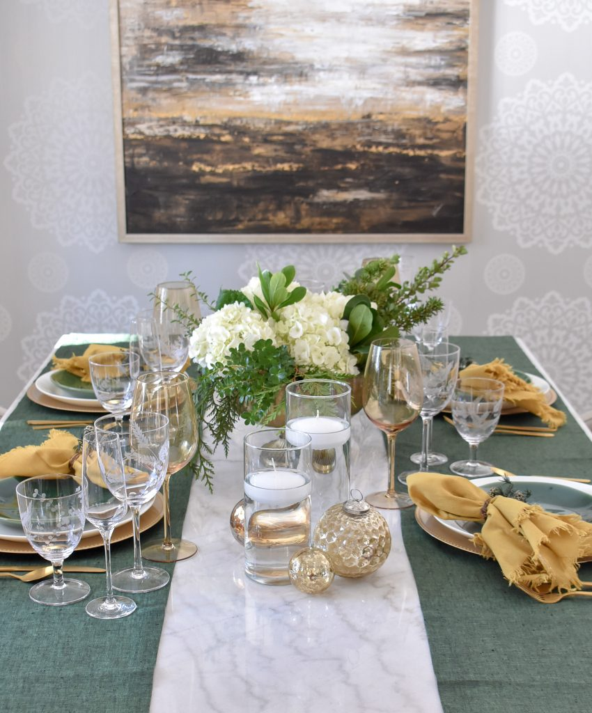 Simple Evergreen and Gold Christmas Table Settings
