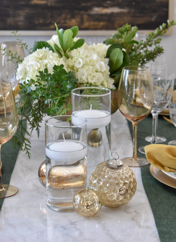 A Simple White and Evergreen Christmas Centerpiece