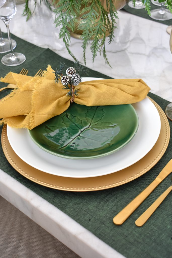 Lenox green accent plates for Evergreen and Gold Christmas Table Settings