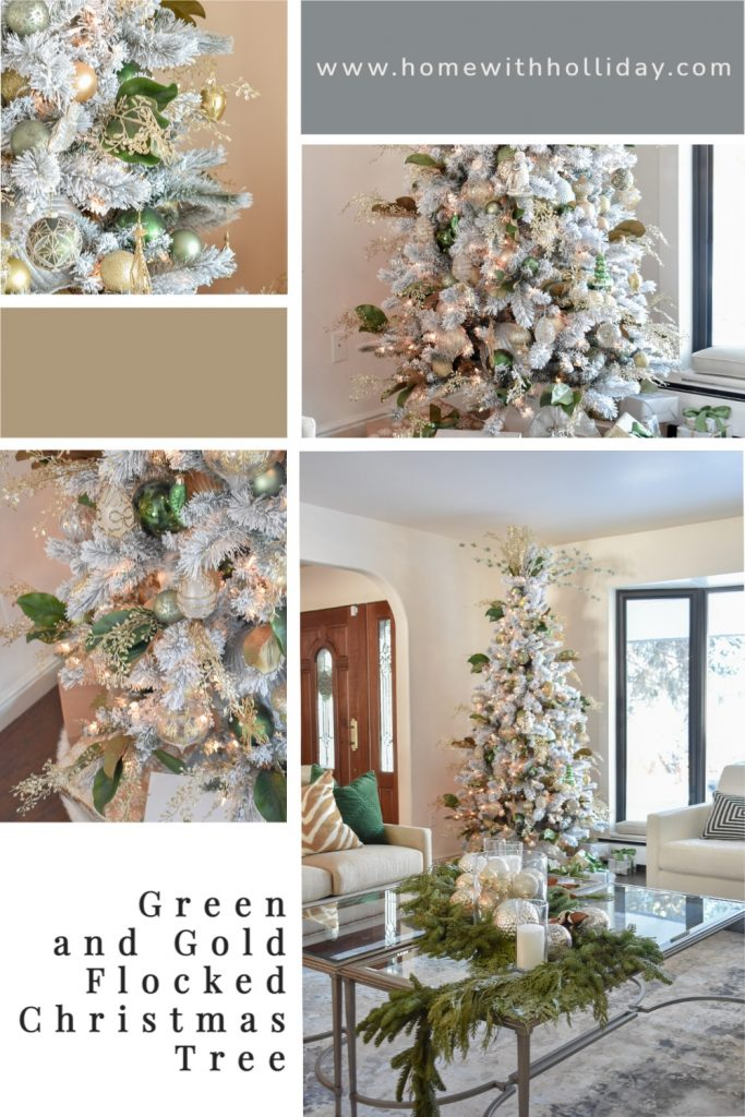 A collage of a Green and Gold Flocked Christmas Tree