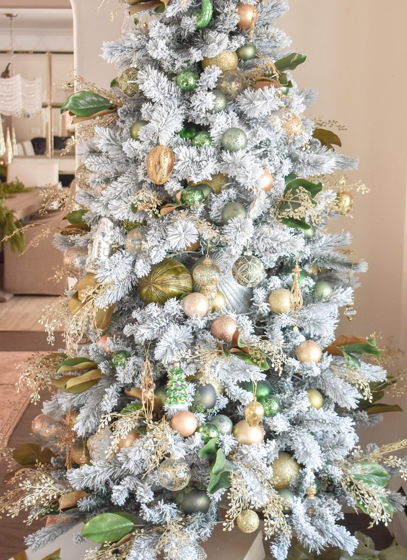 An Elegant Green and Gold Flocked Christmas Tree