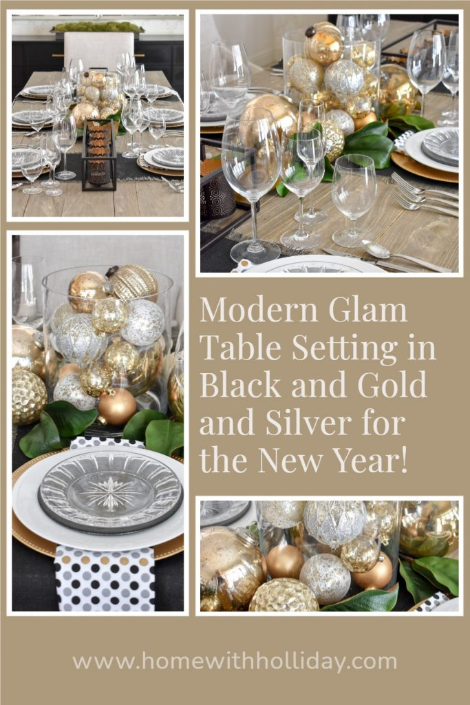 A collage of a modern glam table setting in black and gold and silver for the New Year
