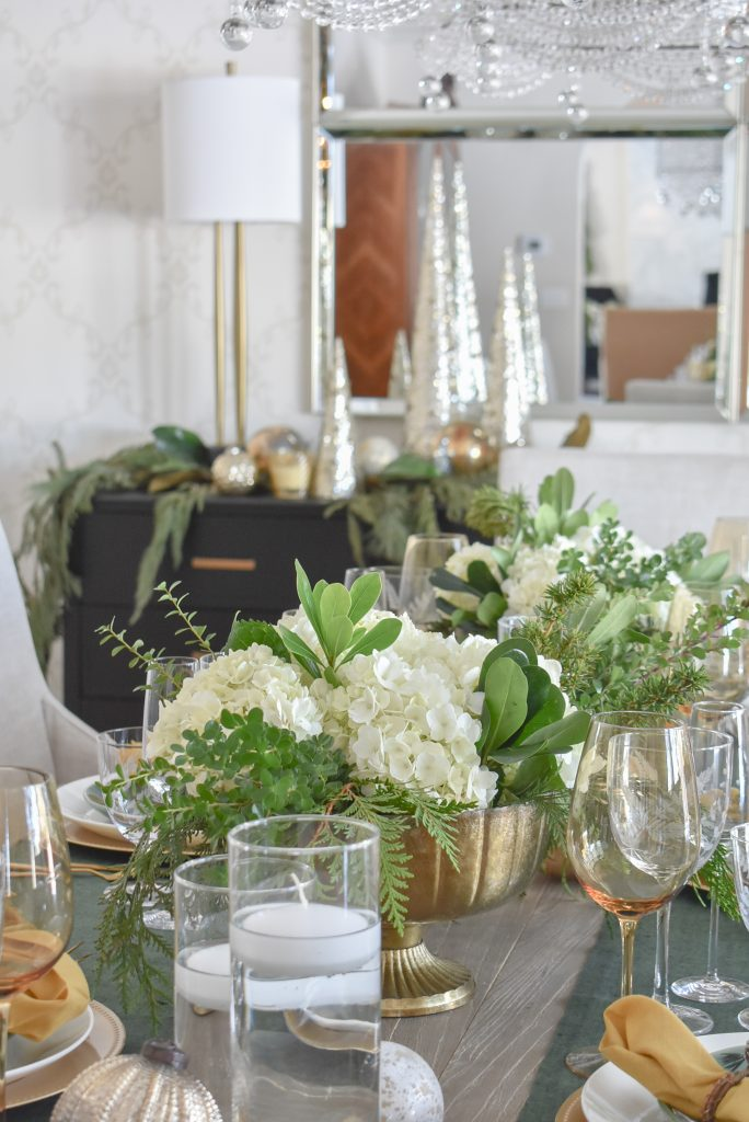 Simple White and Evergreen Christmas Centerpieces