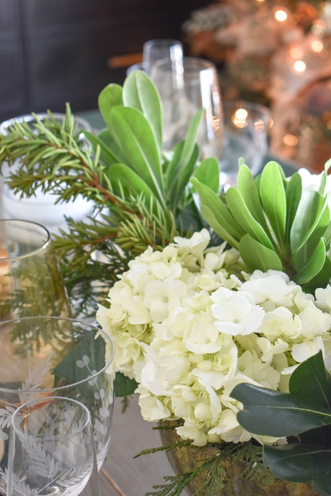 Simple White and Evergreen Christmas Centerpieces with Hydrangeas