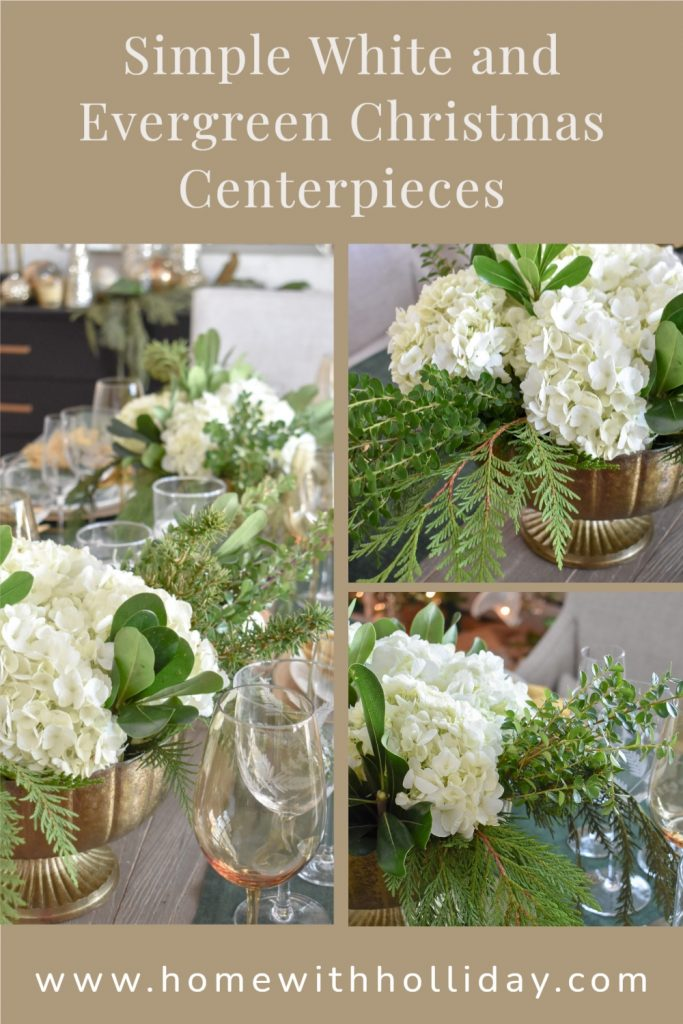 A collage of Simple White and Evergreen Christmas Centerpieces