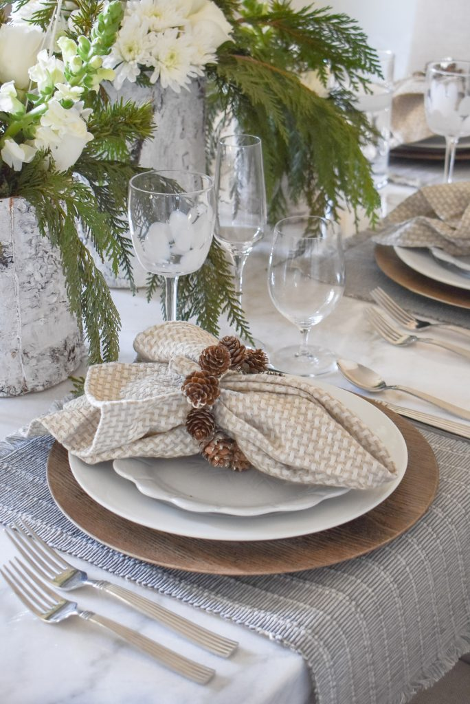 White Woodsy Christmas Table Setting Place Setting with Pine Cones